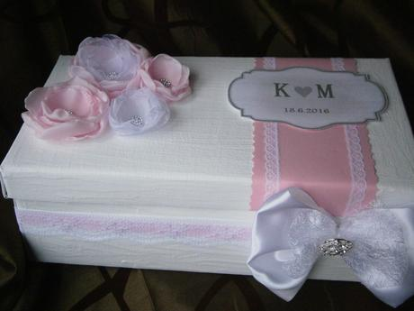 Wedding box na blahoželania - svetlo ružová,