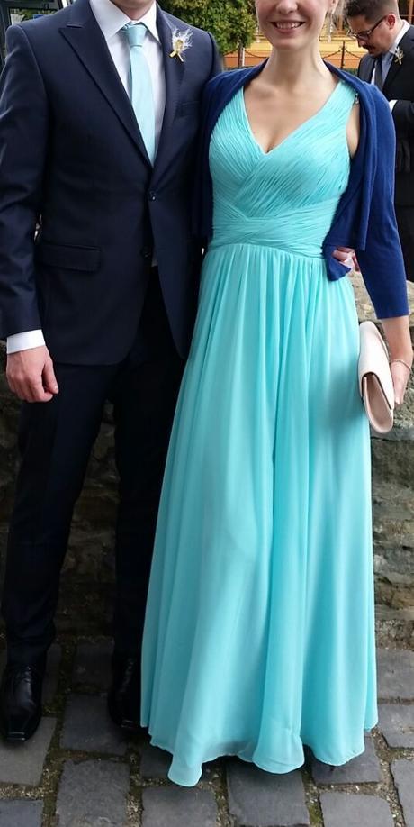 Značkové modré pohodlné šaty ako pre vílu, 38