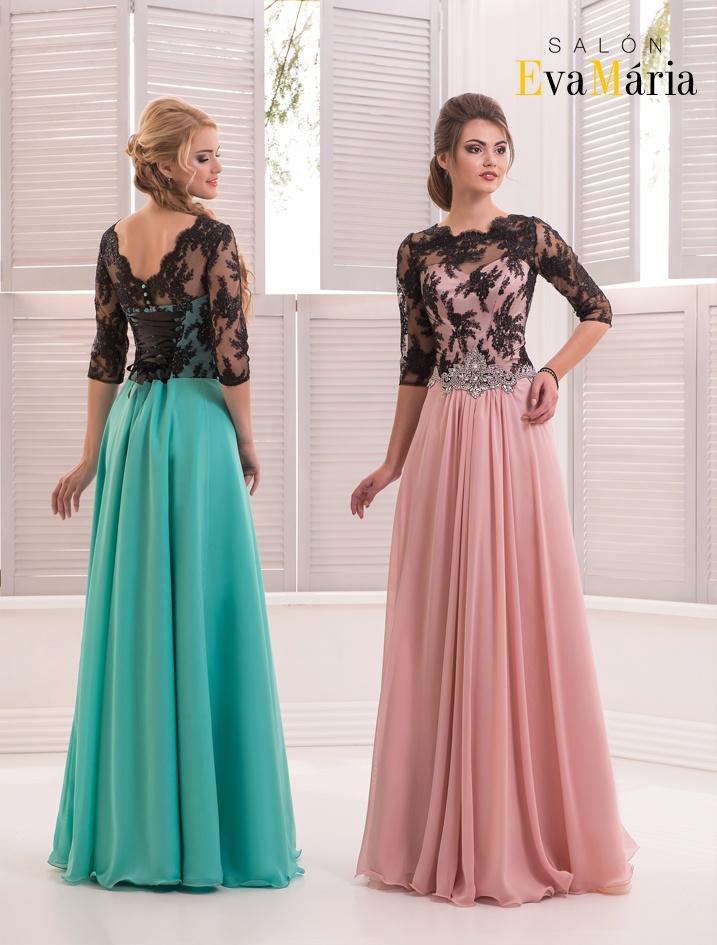 Luxusné večerné šaty s čipkovanými rukávmi 73c8d3bea3