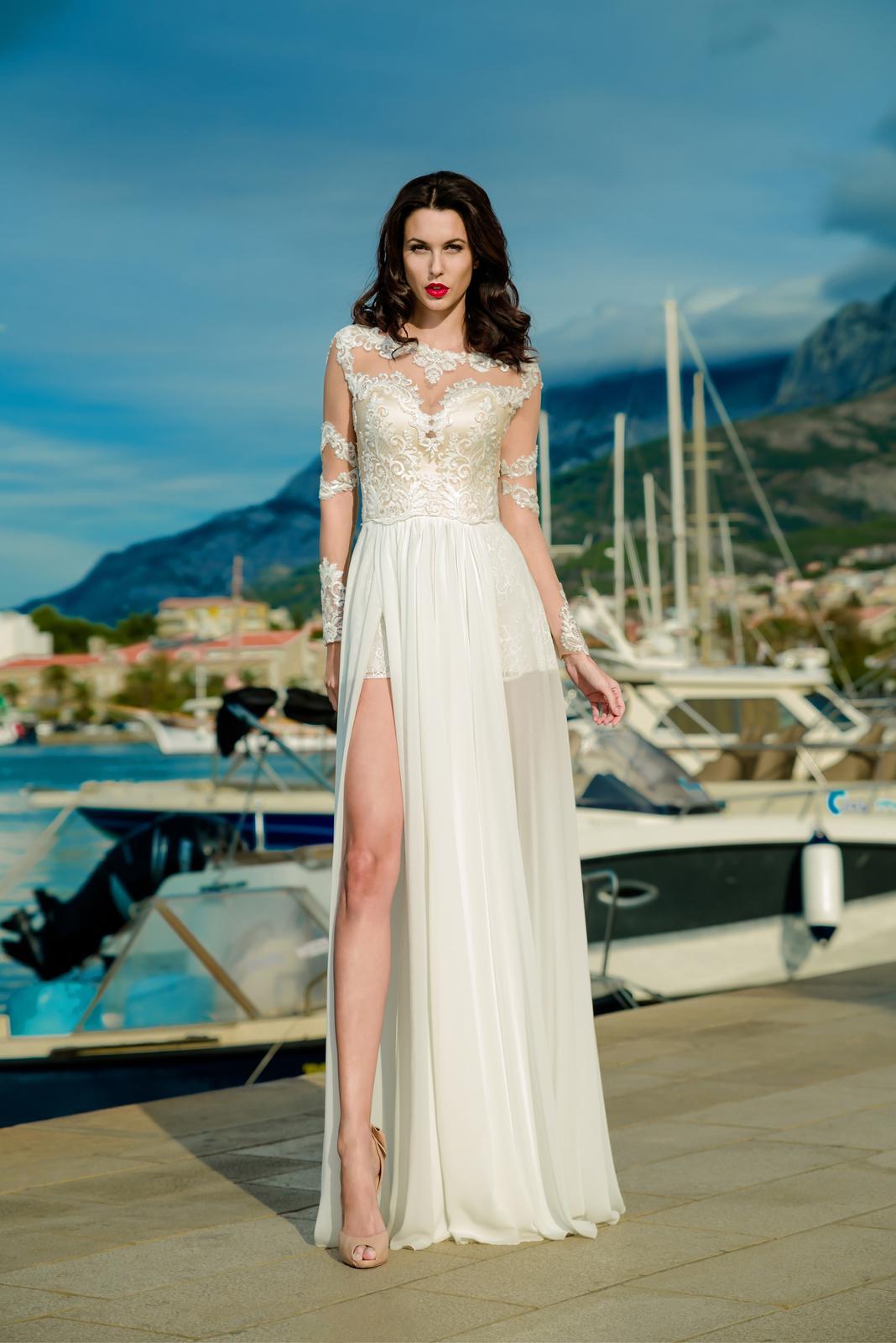 Očarujúce svadobné šaty s dlhými rukávmi  9d23c66dba9