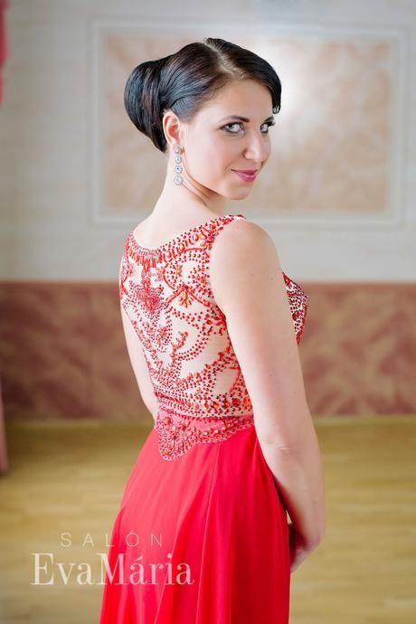Červené luxusné večerné šaty - predaj / prenájom, 38