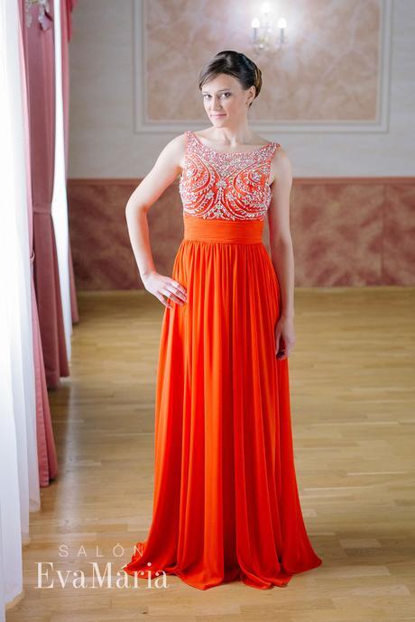 Červené šifónové šaty - predaj / prenájom , 36
