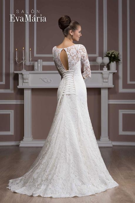 Čipkované svadobné šaty - na mieru, 36