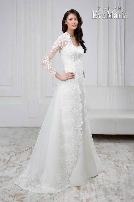 Čipkované svadobné šaty - real foto - na mieru, 38