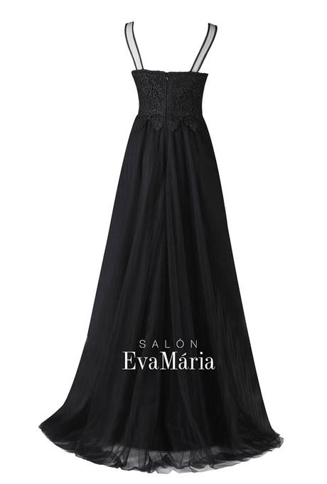 Dlhé čierne večerné šaty s čipkovaným vrškom, 34