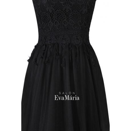 Dlhé čierne večerné šaty s čipkovaným vrškom, 36