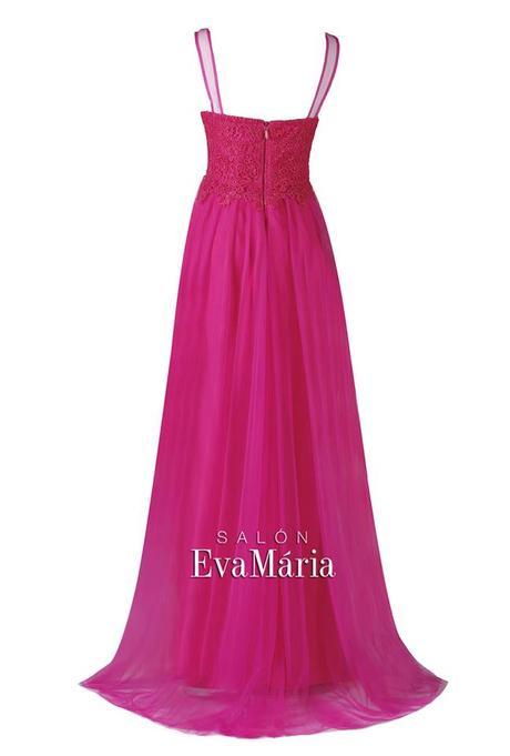 Dlhé cyklaménové šaty s krajkovaným vrškom, 34