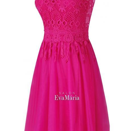 Dlhé cyklaménové večerné šaty s čipkovaným vrškom, 34