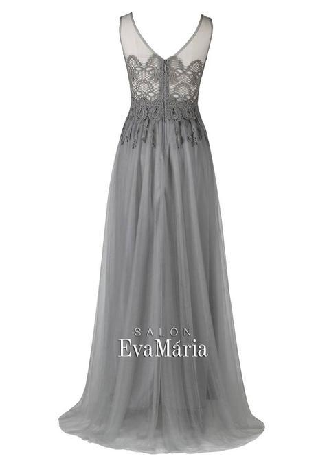 Dlhé sivé večerné šaty s krajkovaným vrškom, 34