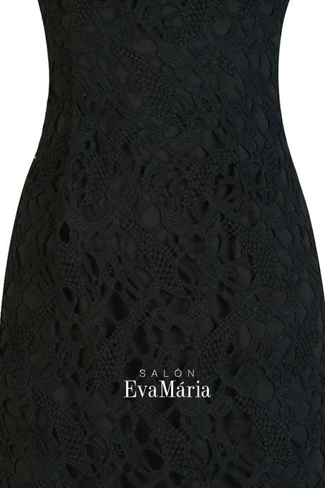 Koktejlové čierne krajkované šaty, 34
