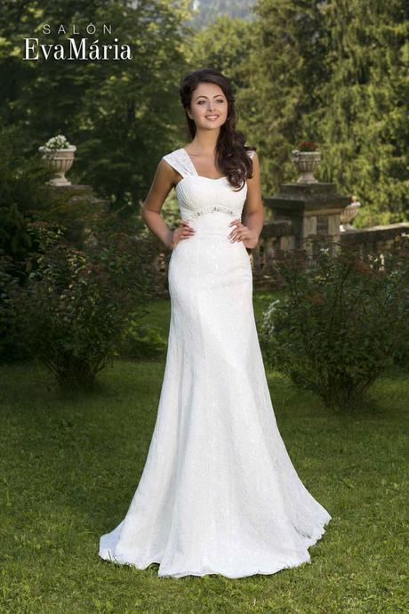 Krajkované svadobné šaty s ramienkami - na mieru, 40