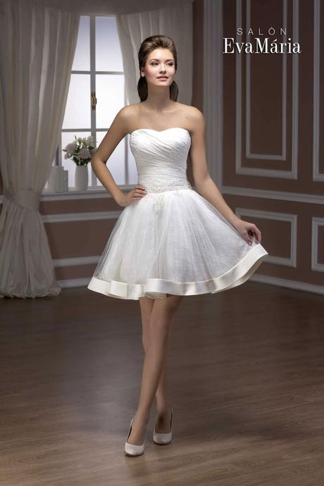 Krátke čipkované svadobné šaty - na mieru, 36