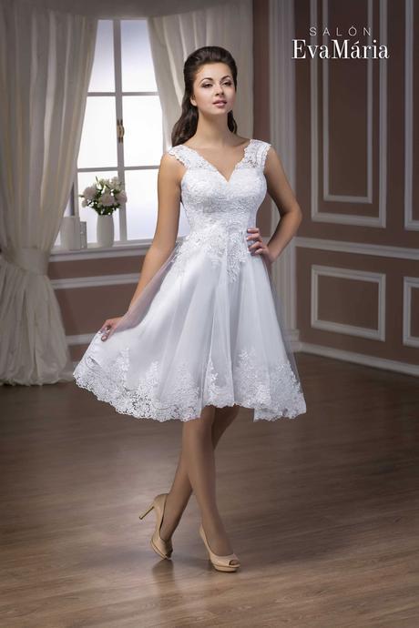 Krátke čipkované svadobné šaty - na mieru, 38