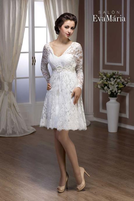 Krátke čipkované svadobné šaty - na mieru, 40