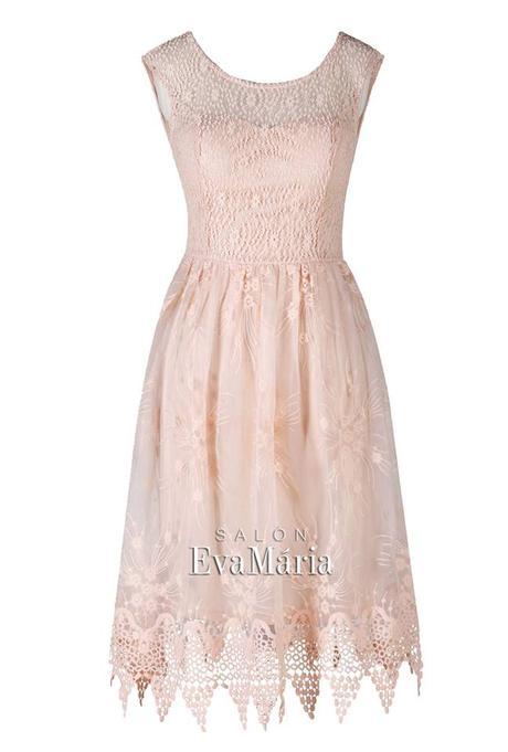 Krátke ružové krajkové spoločenské šaty, 36