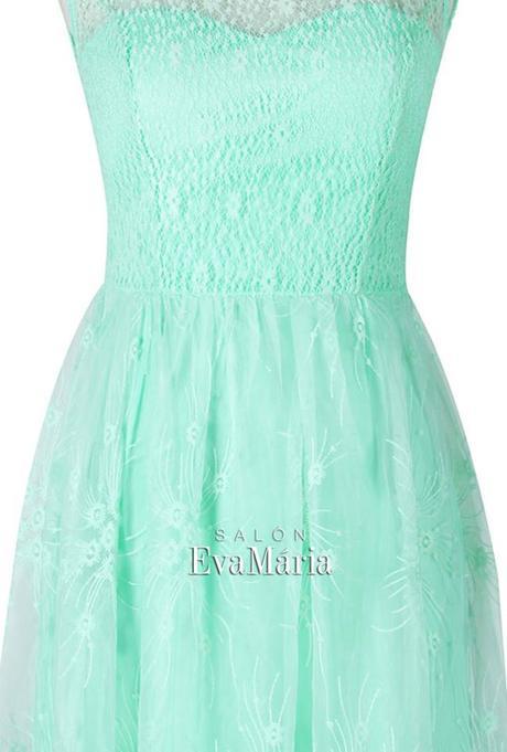 Krátke tyrkysové krajkované spoločenské šaty, 34
