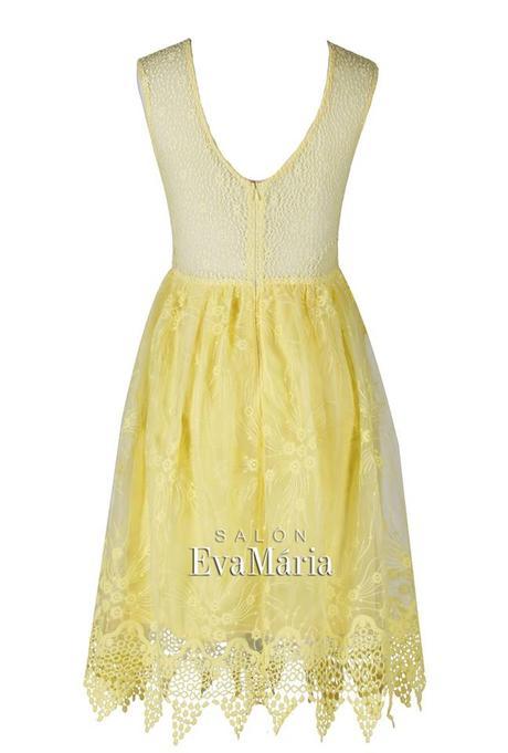 Krátke žlté čipkované spoločenské šaty, 36