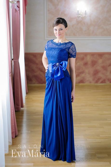 Luxusné modré večerné šaty - predaj / prenájom, M