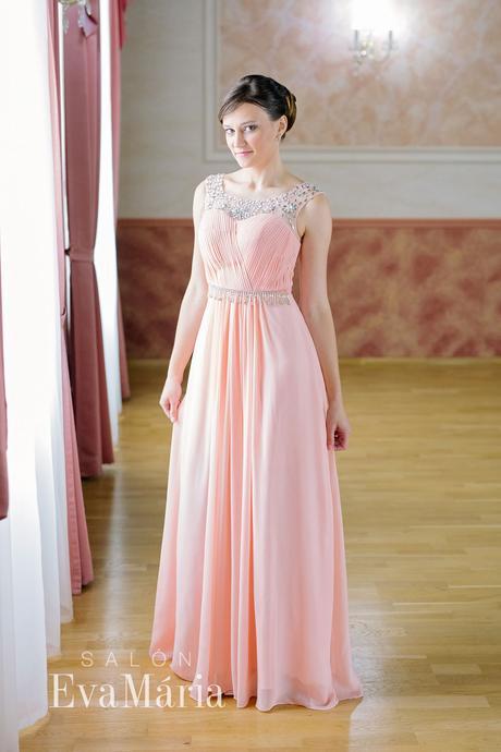 Luxusné ružové večerné šaty - predaj / prenájom, S