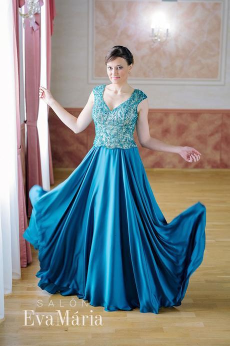 Luxusné tyrkysové šaty - predaj / prenájom, 36