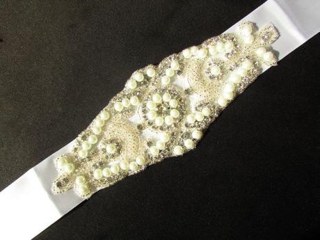 Luxusný svadobný opasok, čelenka,