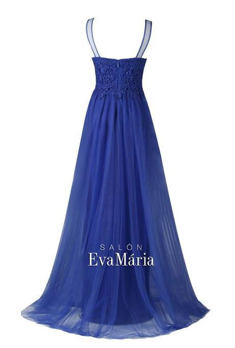 Modré spoločenské šaty s krajkovaným živôtikom, 36