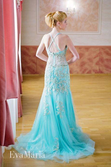 Nebesky modré luxusné šaty - predaj / prenájom, 34