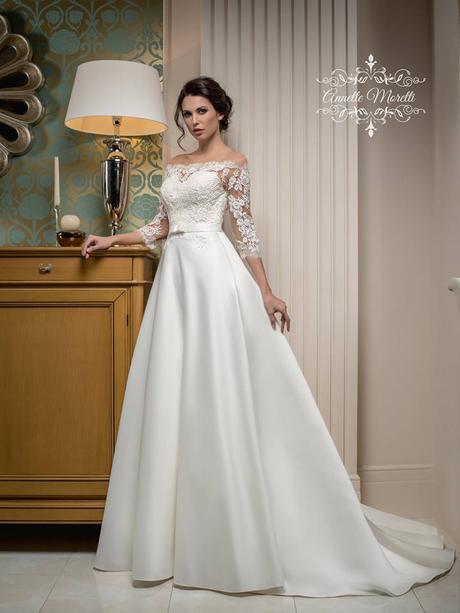 Oslnivé svadobné šaty so saténovou sukňou, 36