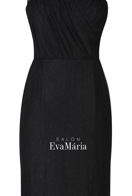 Priliehavé čierne krajkované spoločenské šaty, 36