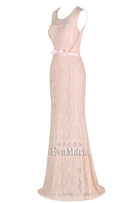 Priliehavé čipkované staroružové spoločenské šaty, 36