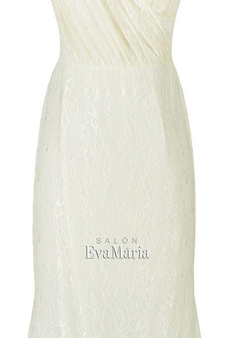 Priliehavé šampasnké čipkované spoločenské šaty, 34