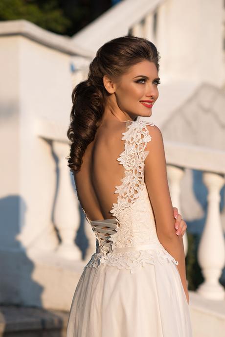 Ružovkasté svadobné šaty s krajkou, 42