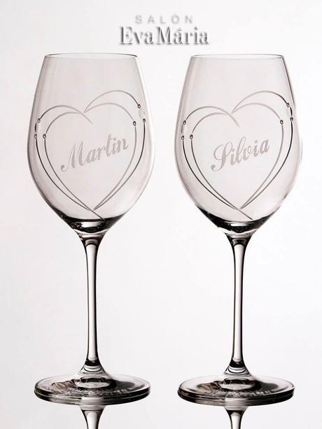 Svadobné poháre s menami,