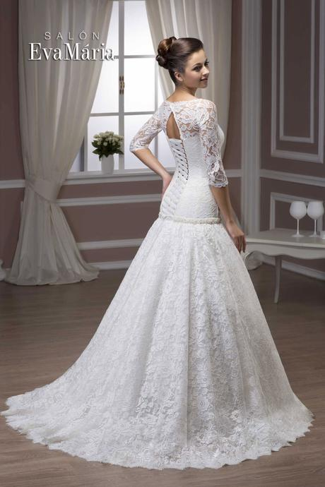 Svadobné šaty s 3/4 rukávom - real foto - na mieru, 38