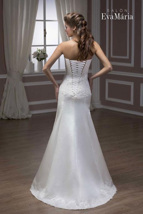 Svadobné šaty s čipkovaným vrškom - na mieru, 36