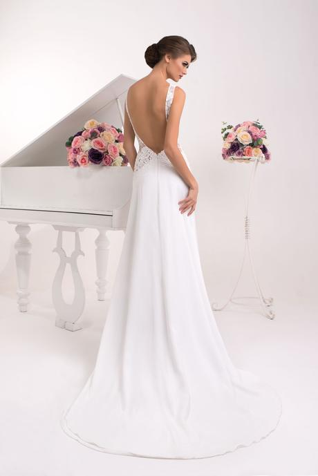 Svadobné šaty s holým chrbátom - na mieru, 34