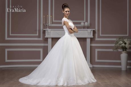 Svadobné šaty s krajkovaným vrškom - na mieru, 36