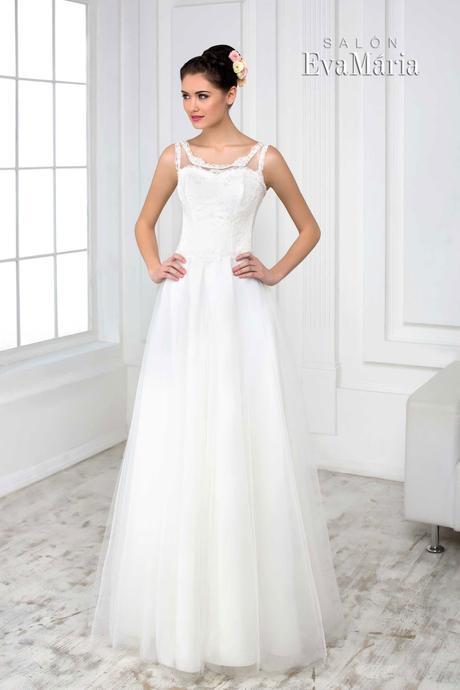 Svadobné šaty s krajkovaným vrškom - na mieru, 40
