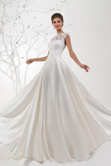 Svadobné šaty so saténovou sukňou zdobené čipkou, 36