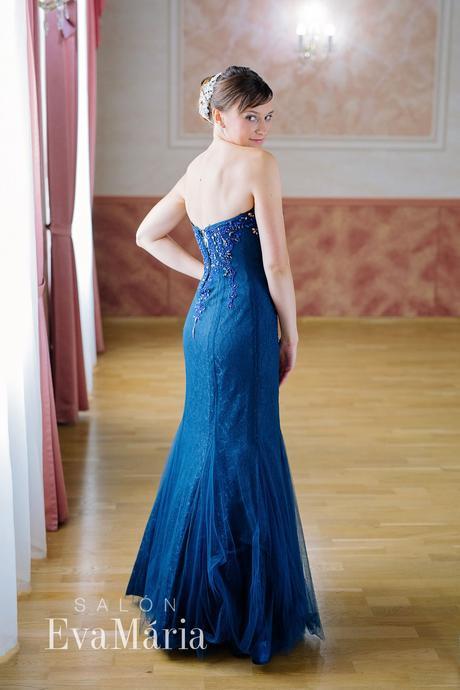 Tmavomodré luxusné šaty - predaj / prenájom, 38