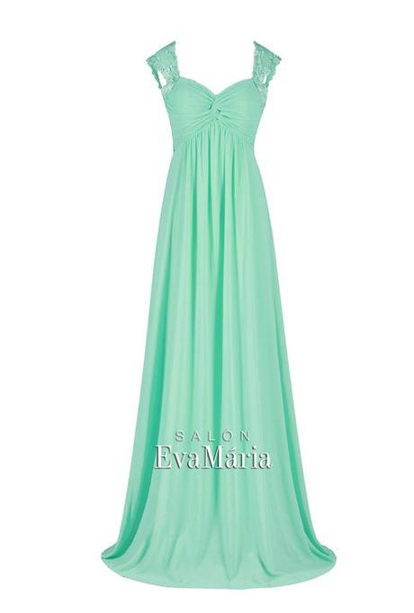 Tyrkysové dlhé šaty s krajkovanými ramienkami, 34