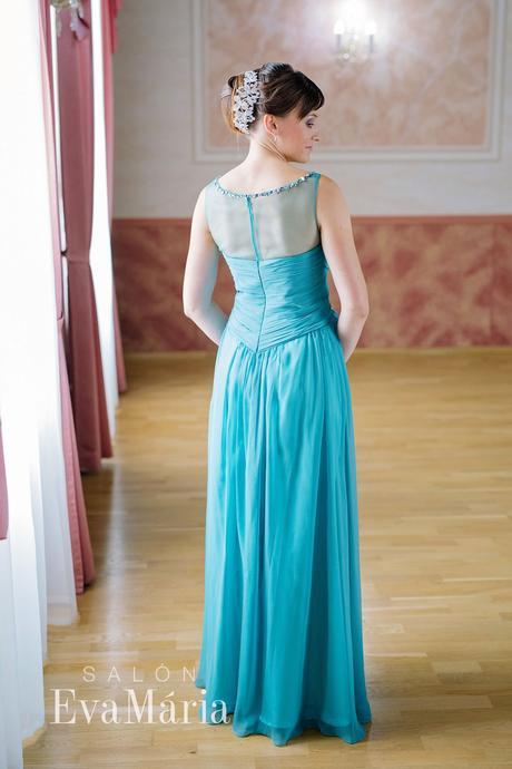 Tyrkysové šifonové šaty - predaj / prenájom , XS