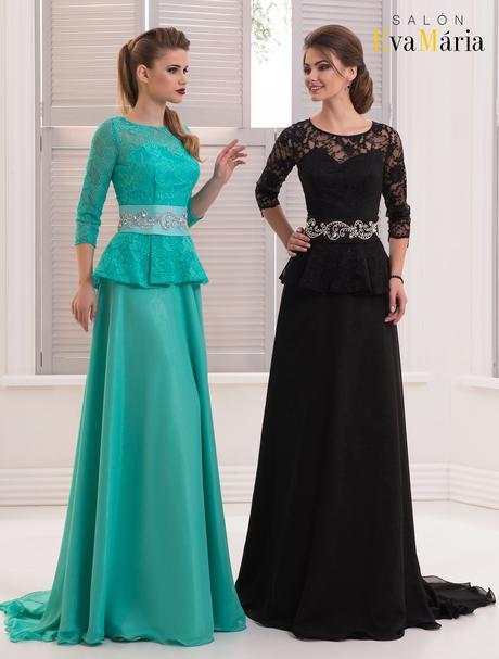 Zaujímavé večerné šaty s dlhými rukávmi, 34
