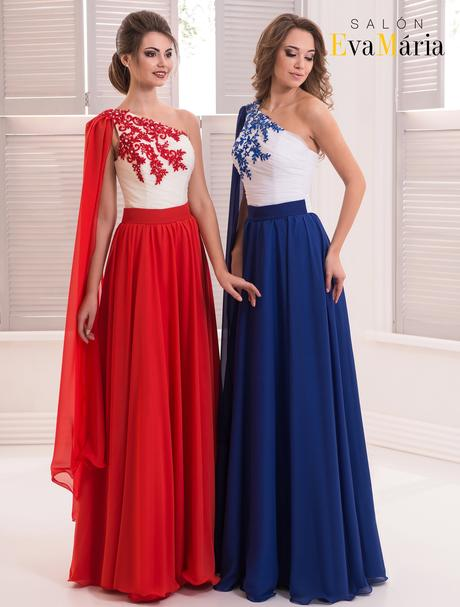 Zaujímavé večerné šaty s výšivkou na jednom pleci, 36