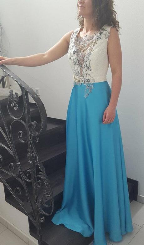 Luxusné spoločenské šaty tyrkysové  f3e28ba4f5d
