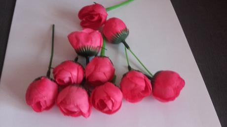 Růžičky k dozdobení - fuchsiová, růžová +smetanová,