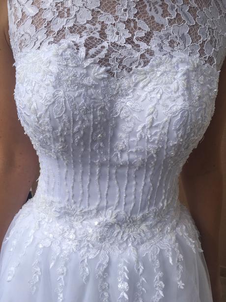 Čipkované svadobné šaty veľ. 36-38, 36