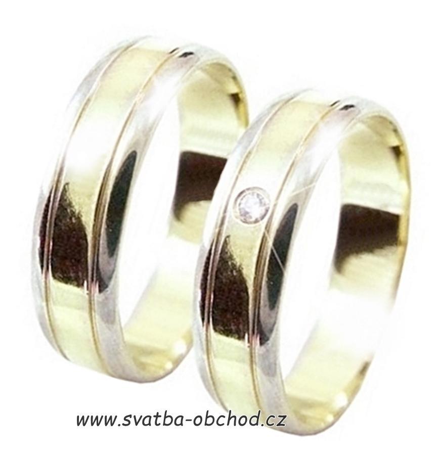 Snubni Prsten B19 Zlato Zlute Bile Zirkon 6 150 Kc Svatebni
