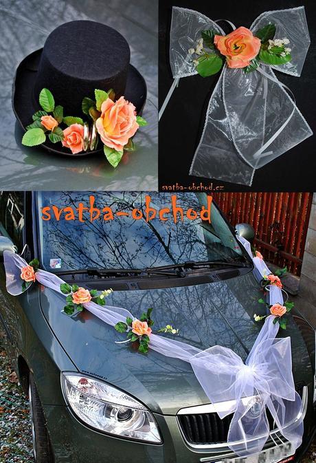 0ranžové růže - set na dvě auta,