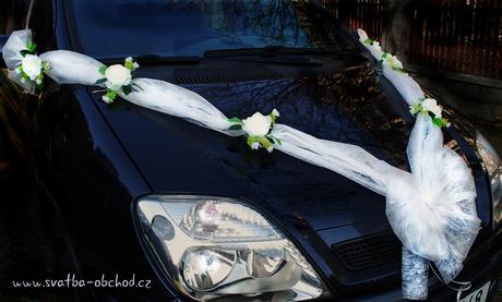 Bílé růže + mašle z vliselinu (lze i organza),